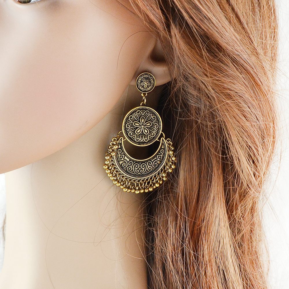 Indian Jewelry Chandelier Earrings Antique Gold Silver Big ...