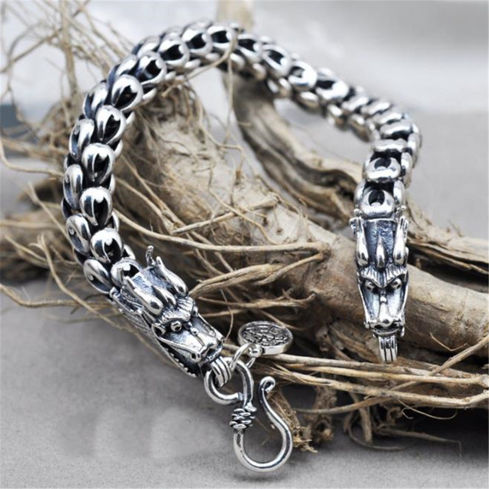 Dragon Scale fashionable and Overbearing Classic Chain S925 Thai Silver Bracelets for Women Men Jewelry fashionable skull and dagger shape embellished trouser chain for men