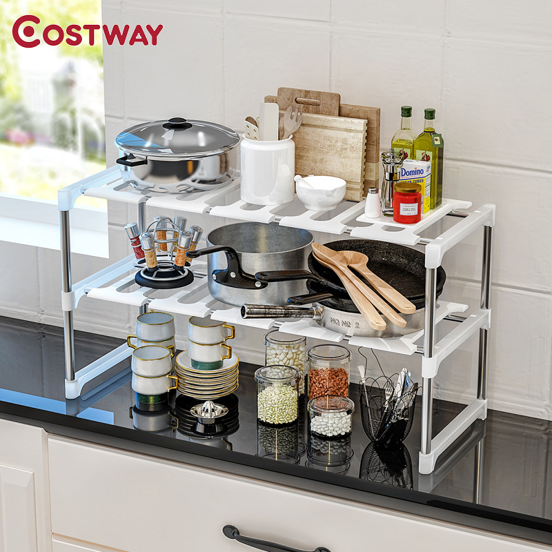 COSTWAY Retractable Double Layer Plastic Storage Shelf Holders Racks Saving Space For Kitchen Living Room Bathroom W0291