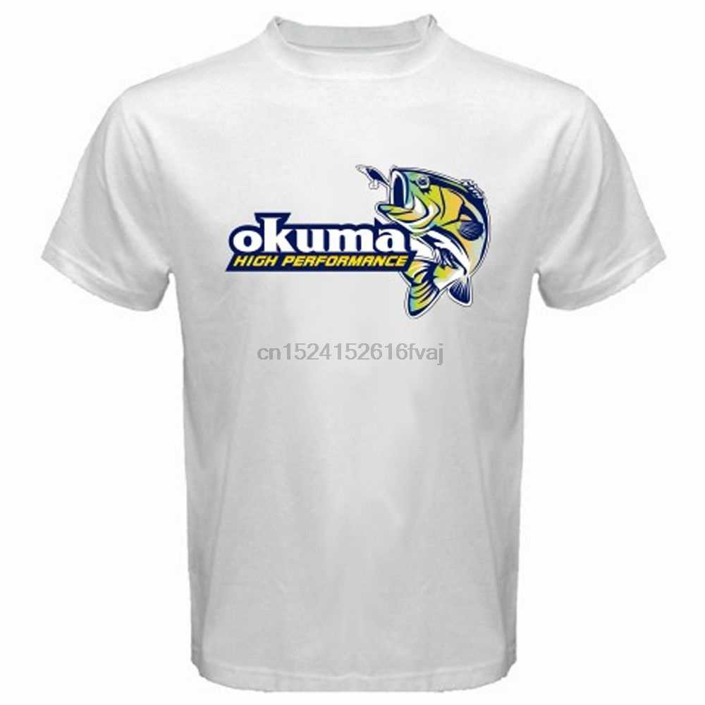 high Performance Fishing Okuma Logo Men's White T-shirt Fashion Mens Cotton T Shirt