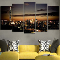 BANMU 5 Planes Large Size Wall Painting Canvas Art Picture Morden City Oversize Home Decoration Poster