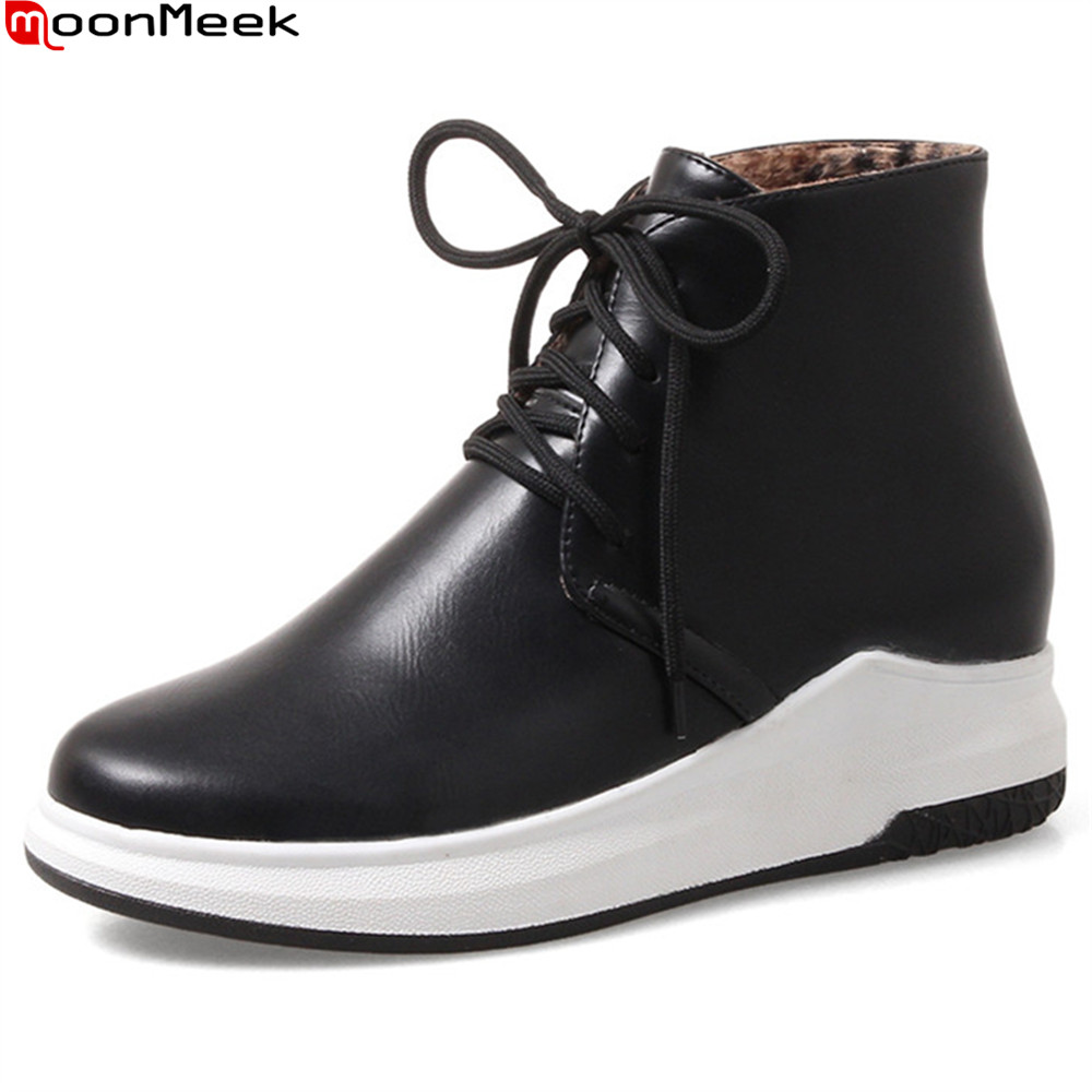 MoonMeek 2018 autumn winter new arrive women boots black white gray ladies boots round toe lace up ankle boots big size 34-43 women ankle boots 2016 round toe autumn shoes booties lace up black and white ladies short 2017 flat fashion female new chinese