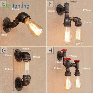 Image 3 - Лофт Ретро Железный промышленный настенный светильник для водопровода с выключателем, винтажная стильная трубка, настенные бра, Паровая водопроводная труба