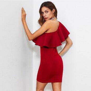 Vestido rojo ajustado volante un hombro  1