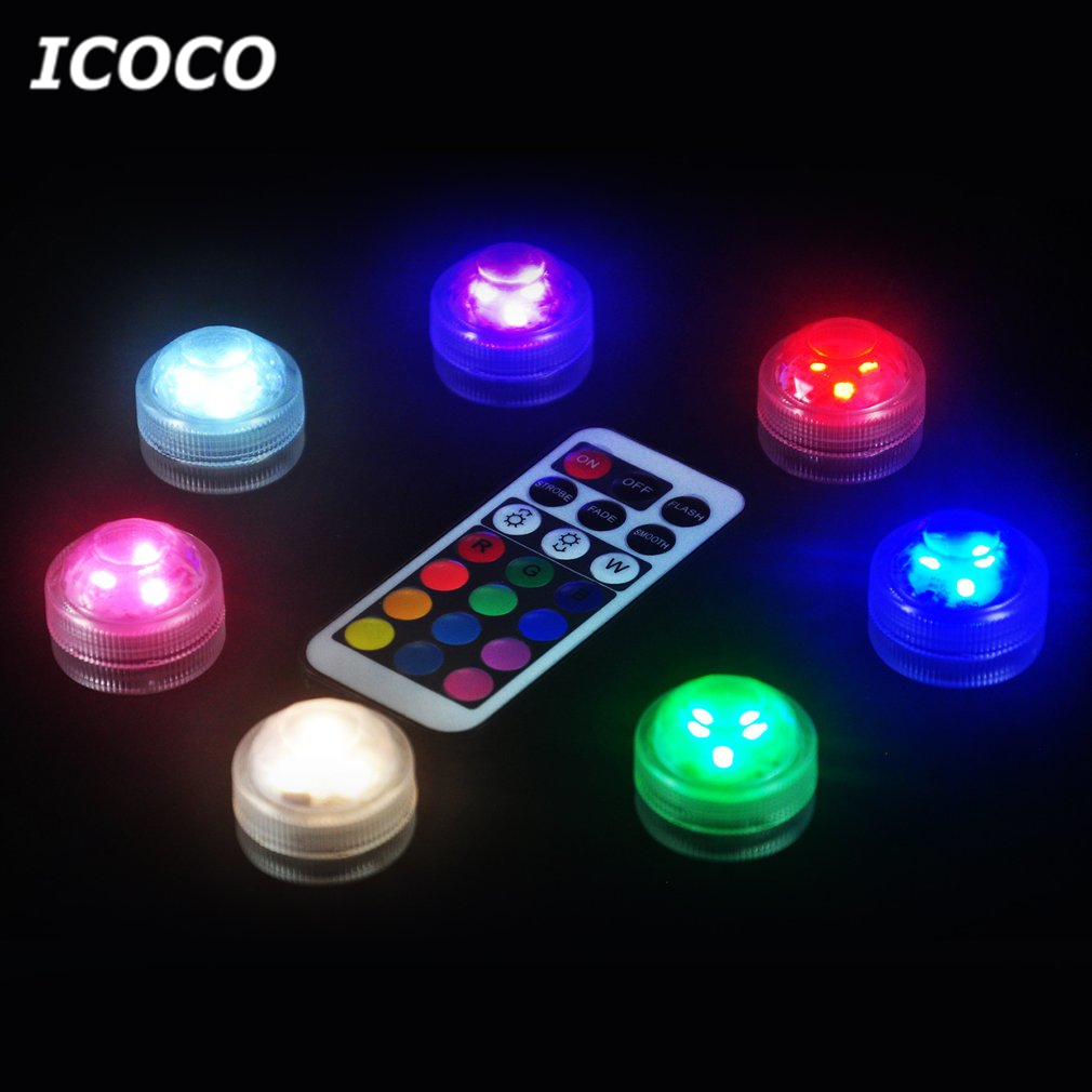ICOCO Mini 3 LEDs Beautiful Underwater Light Battery Powered Color Changeable Waterproof Night Light IP68 with Remote Controller