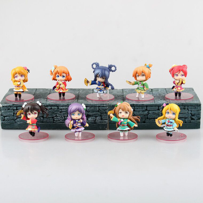 ZXZ 6cm 9pcs/set Japanese Love Live! Kimono Kotori Minami Action Figure PVC Collection Figures Toys Gift Decoration Doll 12pcs set children kids toys gift mini figures toys little pet animal cat dog lps action figures