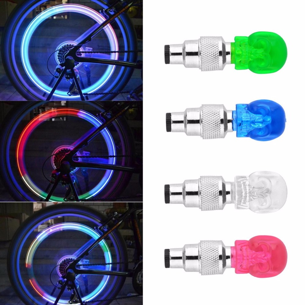 Skull Shape Valve Cap LED Light Wheel Tyre Lamp Colorful Bicycle Accessories For Car Motorbike Bike Wheel Light Traffic Safety