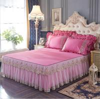 Princess Bedding Home decoration Rose Red Lace Bedspread Bed Skirt 1/3pcs Bedclothes Bed sheet Pillowcases Twin/Queen/King Size