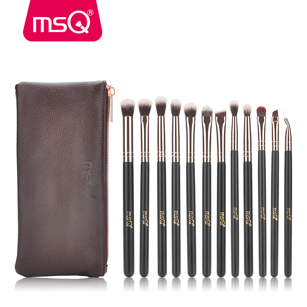 MSQ 12 piezas cepillos de maquillaje Set Pro oro rosa sombra de ojos Blending maquillaje cepillos suave pelo sintético para belleza