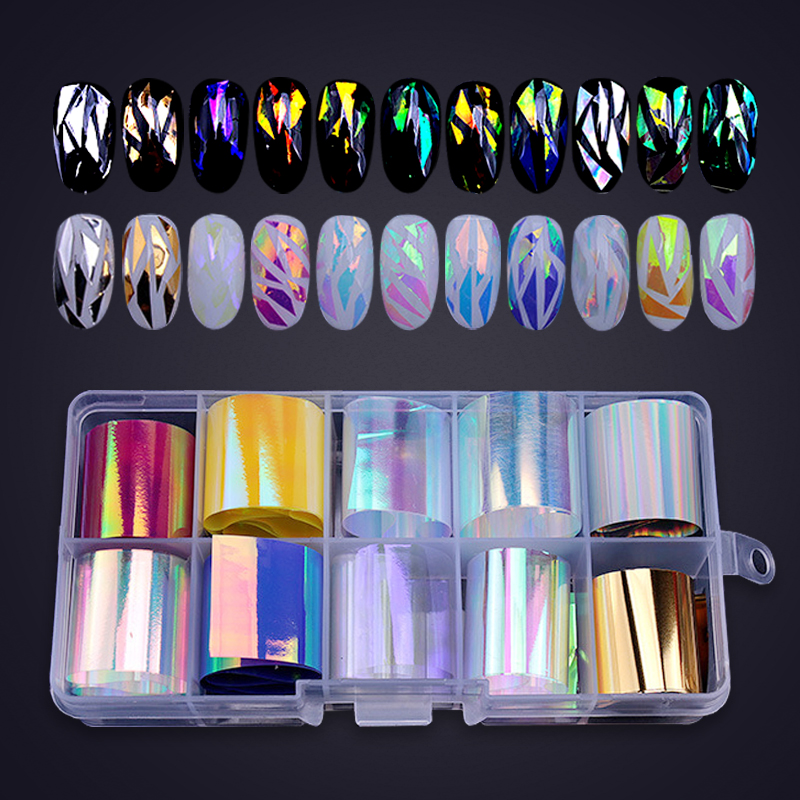 10 Colors Sparkly Sky  Foil Paper Nail Sticker Candy Glass Art Sticker Set Laser Colorful  Stickers