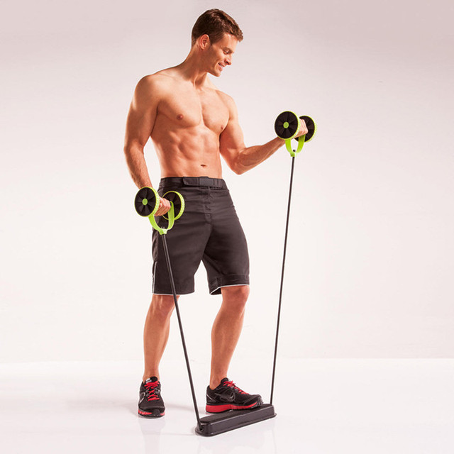 Abdominal and Full Body Workout Double-Wheeled Power Roll Ab  Trainer Multi-functional Arm Waist Leg Exercise Fitness Equipment