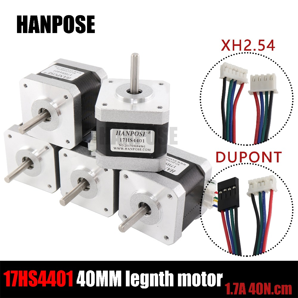Free shipping 5pcs 4-lead Nema17 40mm Stepper Motor 42 motor Nema 17 motor 1.7A (17HS4401) 3D printer motor and CNC XYZ