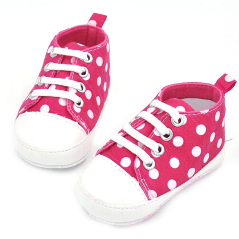 Newborn Baby Crib Boys Sneakers Polka Dot Print Soft Sole No-slip First Walker