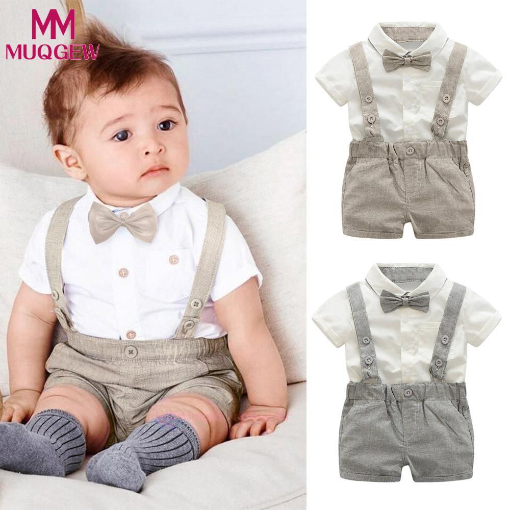 10ca04dc MUQGEW Summer style baby boy clothing set newborn infant clothing 2pcs  short sleeve t-shirt + suspenders gentleman suit