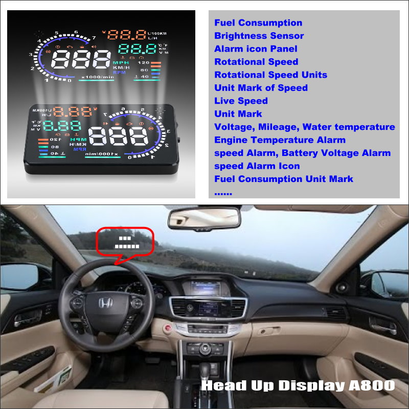 ФОТО Car HUD Head Up Display For Accord Inspire Spirior - Safe Driving Screen Projector Refkecting Windshield