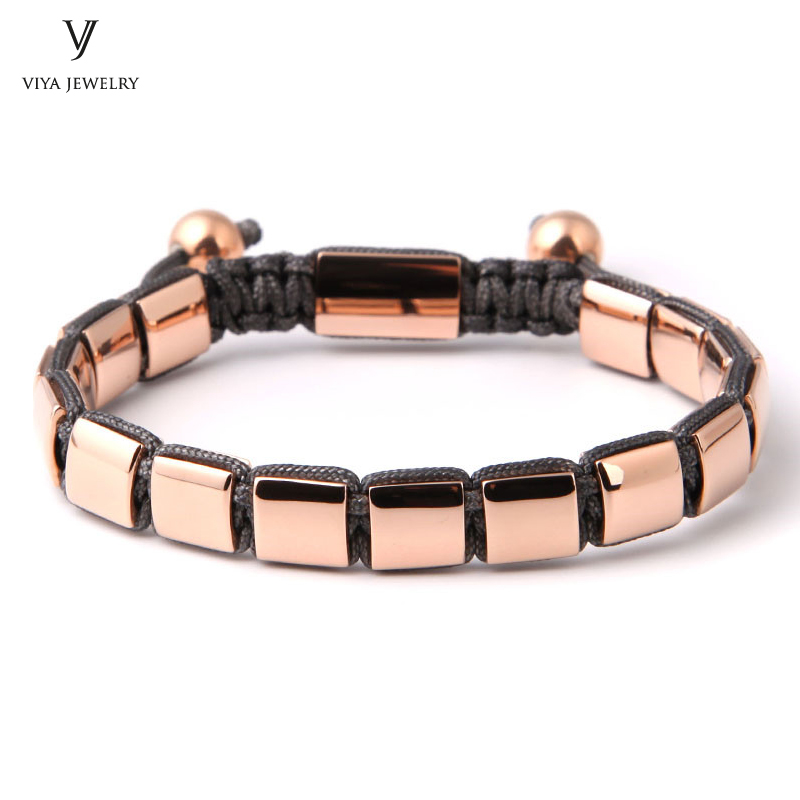 Men/Women Handmade Rose Gold Steel Jewelry Bracelet For AP Stainless Steel Square Beads Weave Macrame Bracelets For Famous Watch new anil arjandas macrame bracelets 18pcs rose gold micro pave black cz stoppers beads braiding macrame bracelet for men jewelry