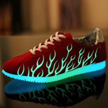 2015 Unisex Luminous Glowing Casual Shoes Men  Flame Shoes For Adults Flats Fluorescence Emitting Canvas Shoes
