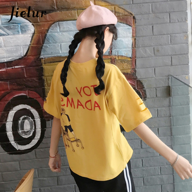 d3f6d48d9257 Jielur Korean Cartoon Letters Printed Holes Female T-shirts Loose Fashion  Cotton Yellow White Tees Short Sleeve M-XXL Women Tops