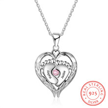 925 Sterling Silver Necklace Heart with Lovely Baby feet Pendant Personalized 2 Names Anniversary Jewelry Promise Gift for Women(China)