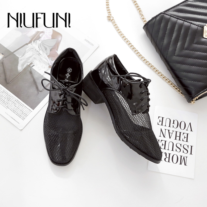 Fashion Women 39 s Leather Shoe Leisure 2019 Summer New Arrival England Patent Leather Mesh Black Small Strap Casual Women 39 s Shoes in Women 39 s Vulcanize Shoes from Shoes