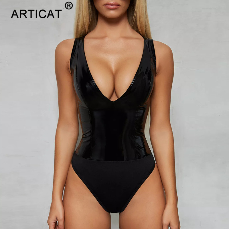 Articat Black Deep V Neck PU Leather Sexy Bodysuit Women Rompers Sleeveless Skinny Short Rompers Womens Jumpsuit Casual Overalls