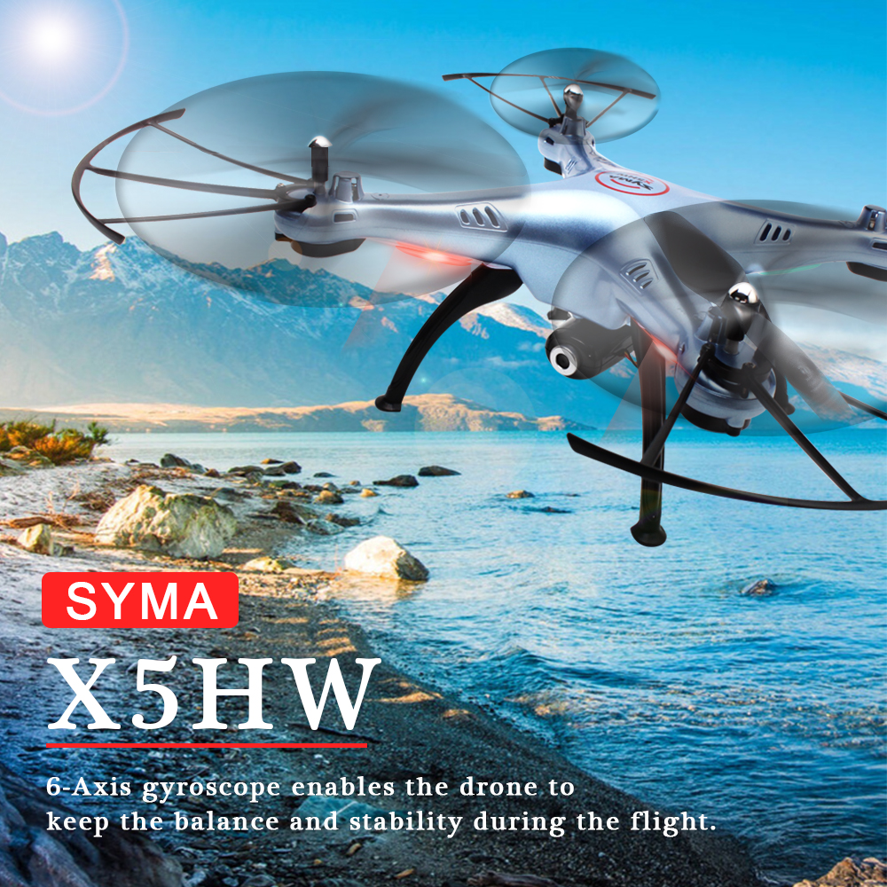 SYMA X5HW RC Helicopter 2.4GHz 4CH 6-Axis Gyro Aircraft Drone with 0.3MP FPV WIFI Camera Remote Control Quadcopter Gift Toys