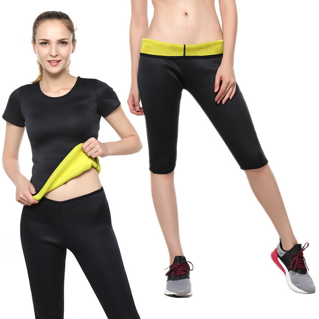 a5944b0f63a94 Hot Sale Black Neoprene Women Yoga Sets Gym Elastic Running Sport Suit Fitness  Clothing Workout Sports Wear Sports Tshirt+Shorts