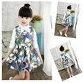 Daughter's New Year Beautiful Clothes 16 Autumn New Style Girls Long Sleeves Dress 3D Printed Ribbon Netted Princess Dress