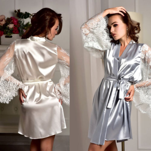 ebc04b2c5af7b Fashion Women Satin Silk Kimono Robe Dressing Bathrobe Gown Wedding  Bridesmaid Sleepwear Sexy Lace Mini Girls Robes Summer