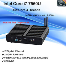 New KabyLake Intel Core i7 7560U/7660U 3.8GHz Fanless Mini PC Optical port 2*lan Intel Iris Plus Graphics 640 DDR4 Barebone PC