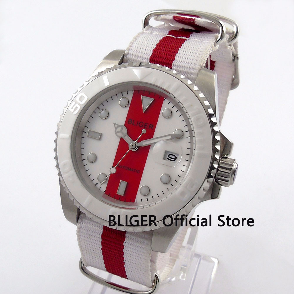 Casual 40MM Bliger Sapphire Crystal Luminous Watch Date maginifier Nylon Strap Automatic Movement Mechanical Men's Watch