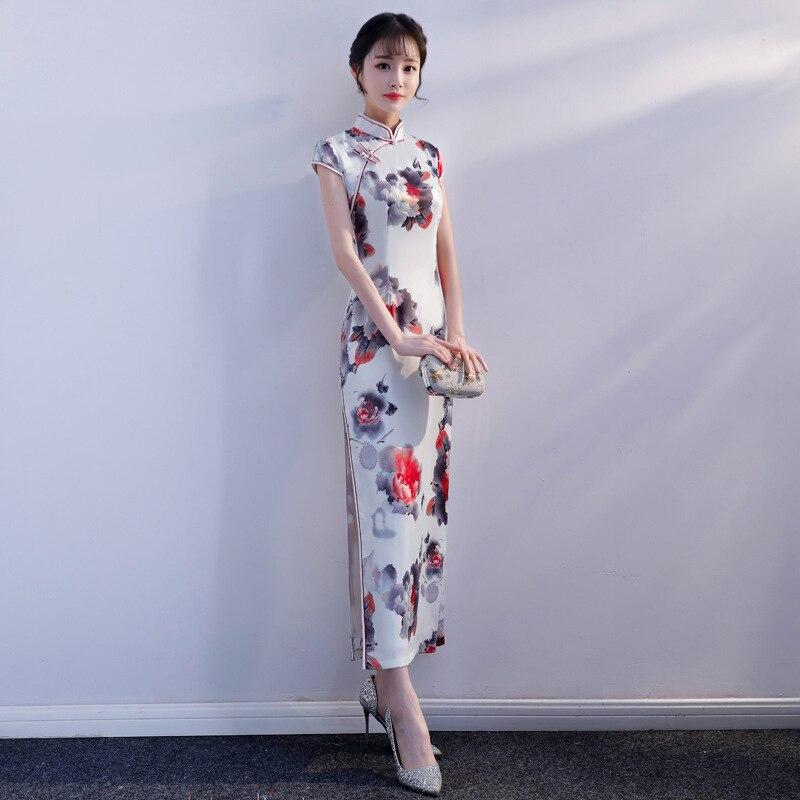 2019 New Women Qipao White Classic Slim Mandarin Collar Cheongsam Sexy Flower Satin Chinese Dress Plus Size Lady Vestidos M 3XL