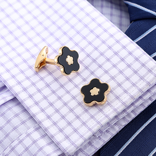 Gold Flower High quality Cuff links  3