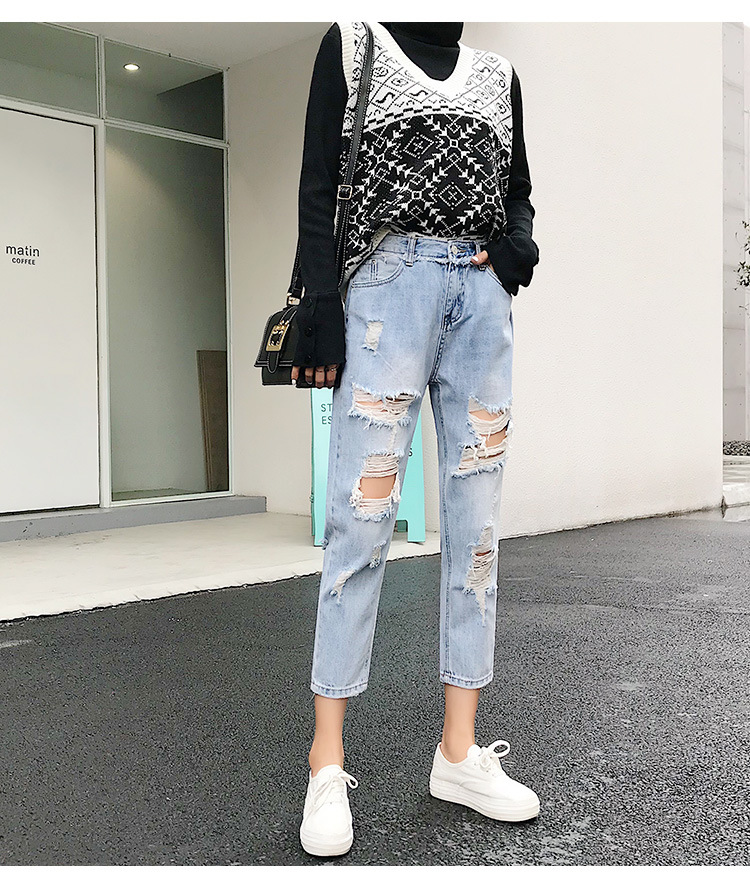 Blue Loose Vintage High Waist Ripped Jeans For Women 31