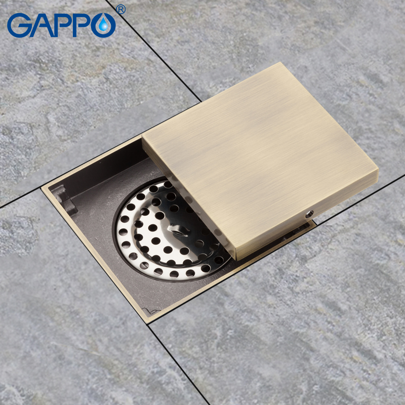 GAPPO Drains shower floor drains square shower floor cover antique brass chrome plugs bathroom drains stopper маска для глаз algologie 24539 сияние