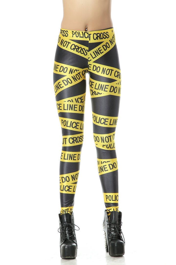 Fashion 3063 sexy girl women do not cross police warning line 3D prints Polyester elastic fitness Leggings Pants