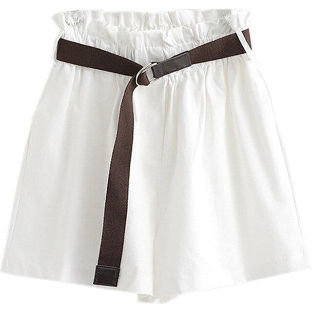 Korean Simple Solid Summer Shorts With Belt 2020 Loose High Waist Slim Loose Green Shorts Women Black Paperbag Shorts 3