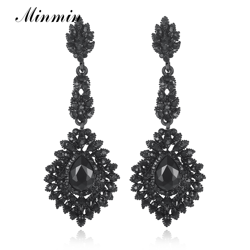 Minmin Vintage Hitam Panjang Chandelier Drop Earrings untuk Wanita Teardrop Kristal Wedding Bridal Earrings Fashion Jewelry 2019 EH192