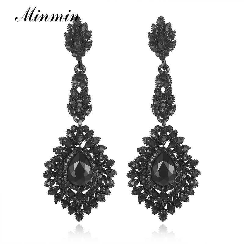 3814c7d6b4 Minmin Vintage Black Long Chandelier Drop Earrings for Women Teardrop  Crystal Wedding Bridal Earrings Fashion Jewelry