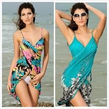 Tunic  Women Bathing Suit Bikini Cover Up Beach Dress Sarong Wrap Pareo Swimwear Hot Long Sleeve