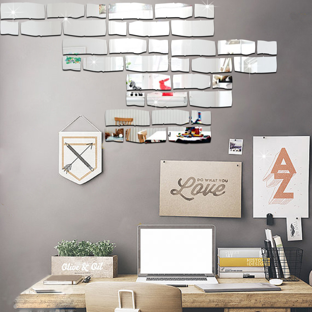 1 Set 24pcs DIY Mirror Wall Stickers Wall Mirror Kids Room Decoration Eco-friendly PS Board Brick Mirror Sticker ...