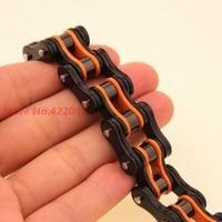 Pesado! top design mens calientes gótico orange negro brazalete de eslabones de la joyería pulseras de acero inoxidable del motorista de la motocicleta de 8.46