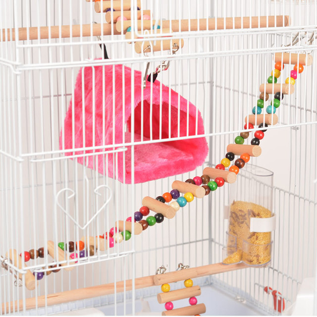 Foldable Metal Parrot Villa Bird Cage Thrush Starling Parrot Cage Three-story Heightened Bird Building Upgraded Version 46*36*93 3