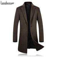 Grado superiore di Nuovo Modo di Marca di Abbigliamento Giacca Cappotto Degli Uomini di Lana Slim Fit Pea Coats Men Singolo Pulsante Lane & Miscele Cappotto di Inverno Degli Uomini