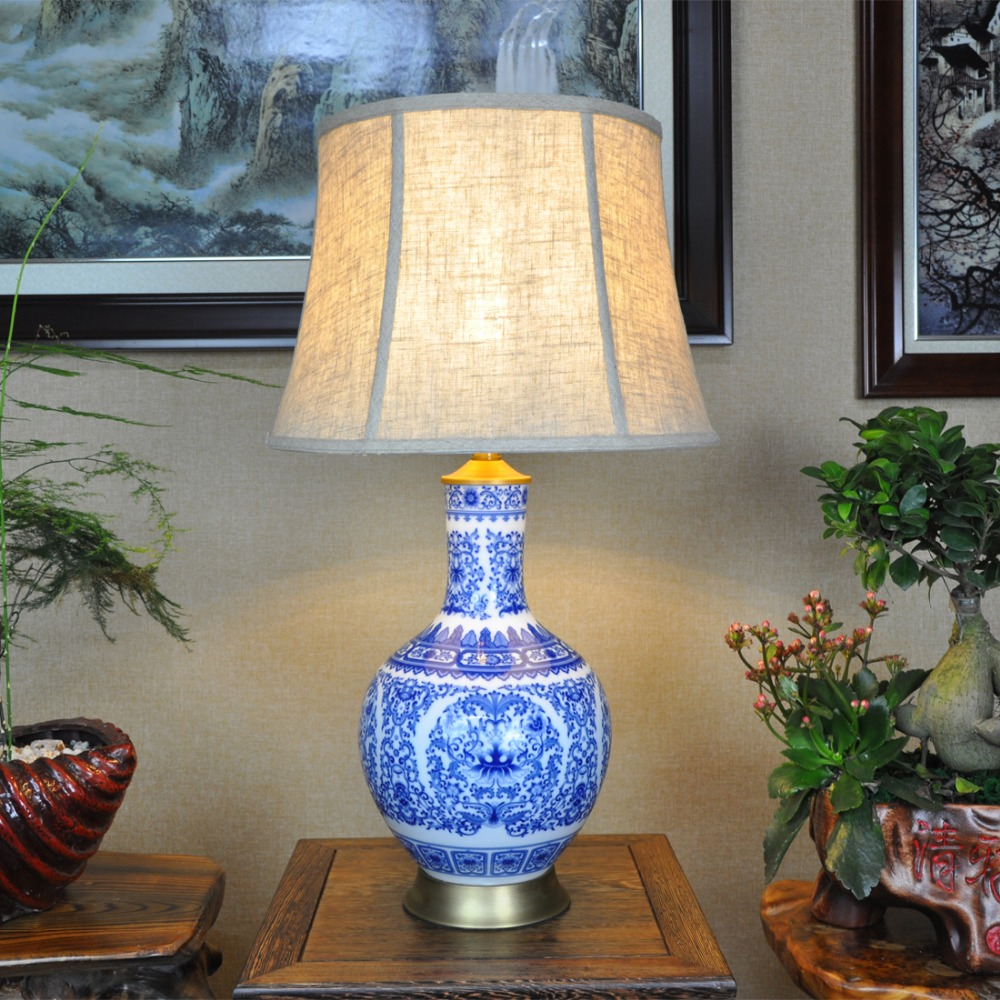 Online get cheap fabric jingdezhen aliexpress alibaba group blue and white art chinese porcelain ceramic table lamp bedroom living room wedding table lamp jingdezhen ceramic lamps handmade geotapseo Gallery