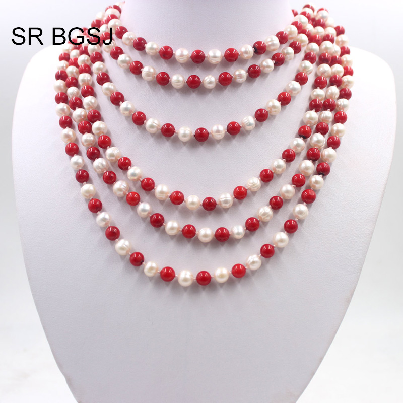Livraison gratuite perle de culture naturelle presque ronde et perles de corail rouge noeud corde collier 6-7mm 100