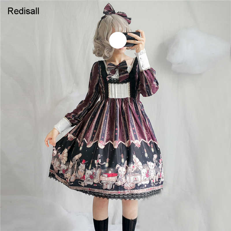 Lolita vestido bonito coelho urso meninas mulheres gótico vapor punks japonês kawaii cintura alta doce vestido de renda 1110