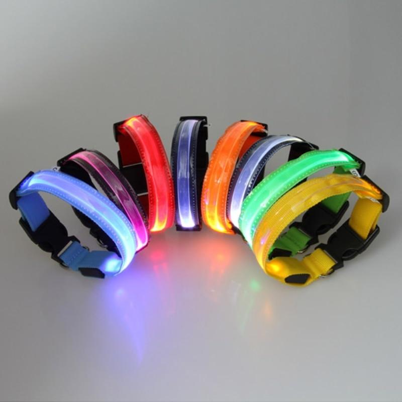8 Color Dog Collars Pets LED Collars Nylon Collar Light Up Transparent LED Flashing S M L XL