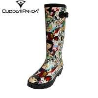 CuddlyIIPanda 2019 New Hand painted Cartoon Rain boots Waterproof Women Knee High Boots Cute Kawaii Buckle Strap Botas Feminina