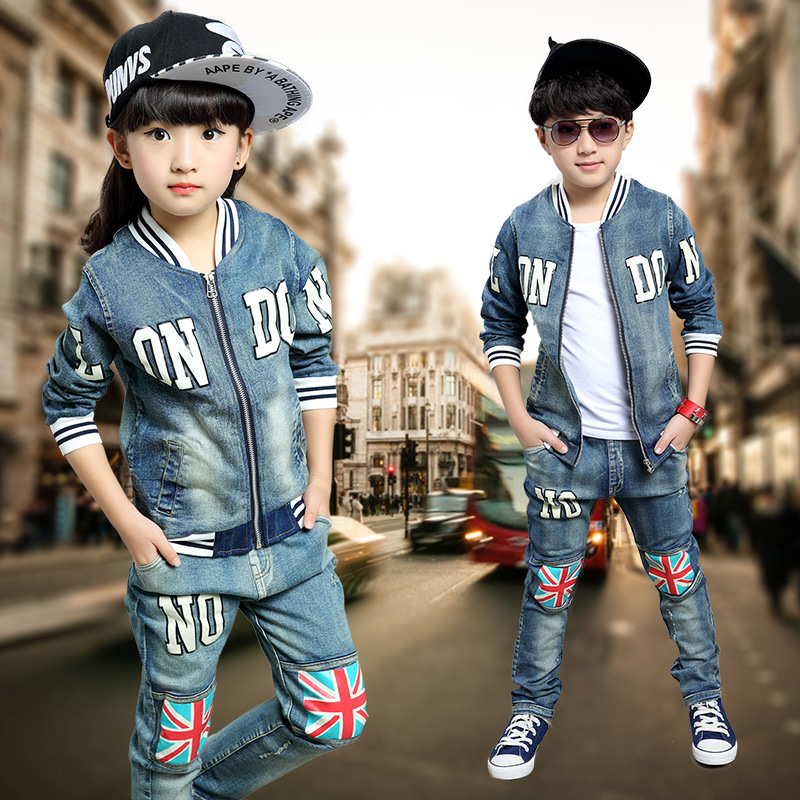 2016 Kids clothing set spring Autumn Boys Girls suits England Flag cowboy pants jeans & Jacket kids suits twinset цены онлайн